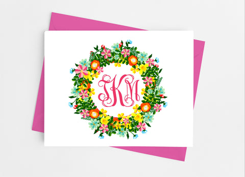 Floral Wreath Monogram Note Cards-Note Cards-Cathy's Creations - www.candywrappershop.com