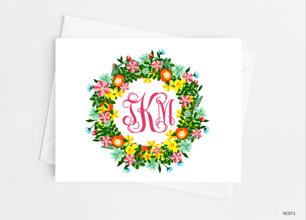 Floral Wreath Monogram Note Cards - Cathy's Creations - www.candywrappershop.com