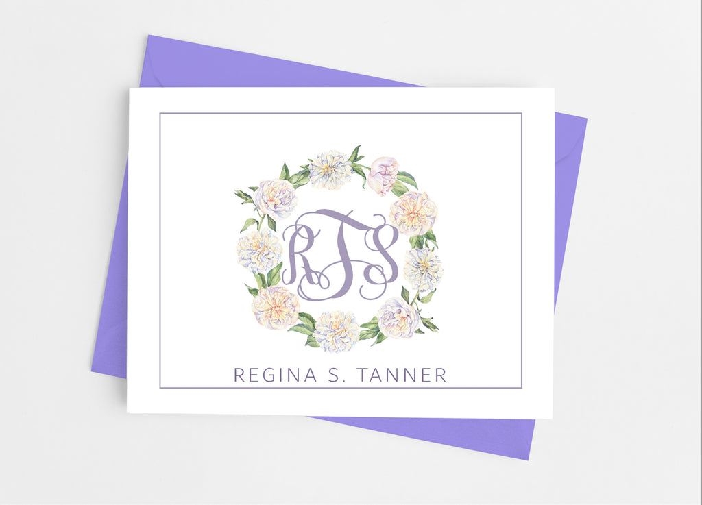 Purple Floral Monogram Note Cards - Cathy's Creations - www.candywrappershop.com