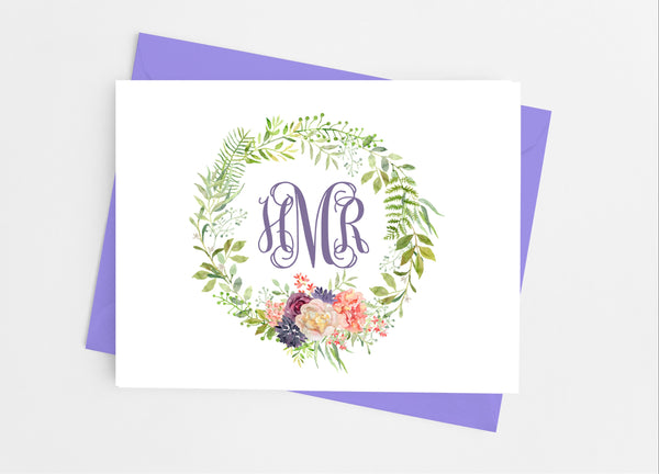 Floral Monogram Wreath Note Cards - Cathy's Creations - www.candywrappershop.com