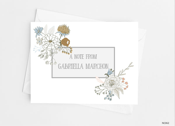 Floral Sketch Note Cards - Cathy's Creations - www.candywrappershop.com