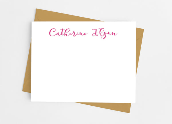 Personalized Stationery Flat Note Cards - Modern Script - Cathy's Creations - www.candywrappershop.com