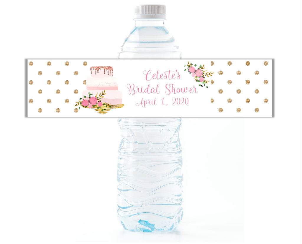 Wedding Cake Water Bottle Labels - Cathy's Creations - www.candywrappershop.com