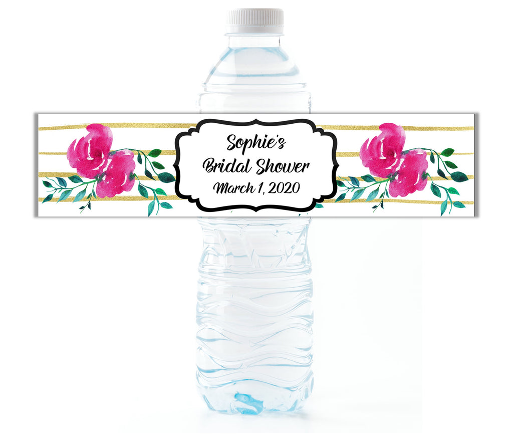 Pink and Gold Water Bottle Labels - Cathy's Creations - www.candywrappershop.com