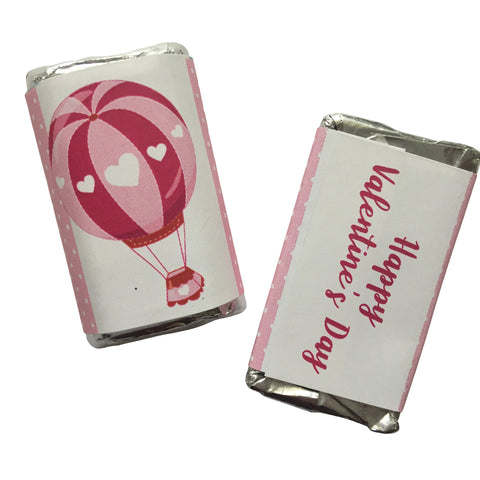 Valentine's Day Hot Air Balloon Mini Candy Bar Wrapper- Cathy's Creations - www.candywrappershop.com