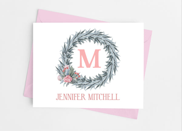 Blush Pink Single Initial Note Cards - Cathy's Creations - www.candywrappershop.com