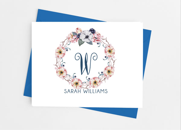 Single Initial Monogram Note Cards-Note Cards-Cathy's Creations - www.candywrappershop.com