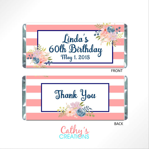 Pink and Navy Floral Candy Bar Wrapper - Cathy's Creations - www.candywrappershop.com