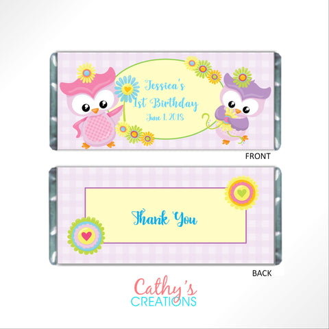 Pastel Owl Candy Bar Wrapper Candy Bar Wrapper- Cathy's Creations - www.candywrappershop.com