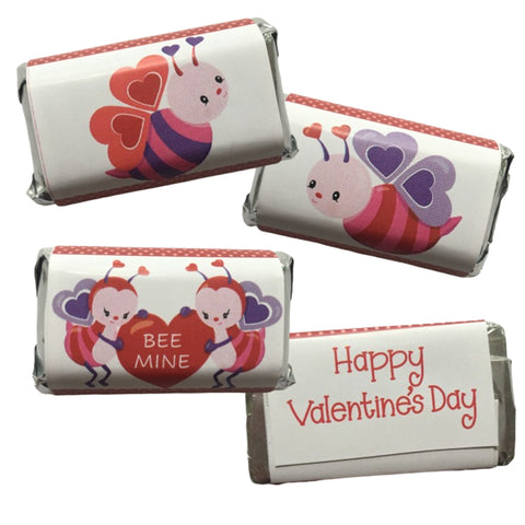 Valentine's Day Bee Mini Candy Bar Wrapper- Cathy's Creations - www.candywrappershop.com