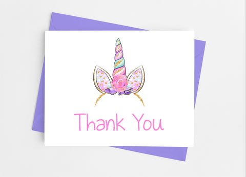Unicorn Thank You Cards-Note Cards-Cathy's Creations - www.candywrappershop.com