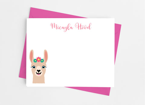 Llama Girl Flat Note Cards-Flat Stationery Cards-Cathy's Creations - www.candywrappershop.com