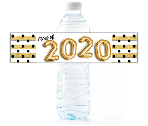 Gold Graduation Water Bottle Labels Water Bottle Labels- Cathy's Creations - www.candywrappershop.com