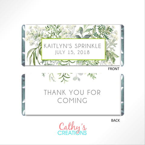 Green Floral Botanical Candy Bar Wrapper-Candy Bar Wrapper-Cathy's Creations - www.candywrappershop.com