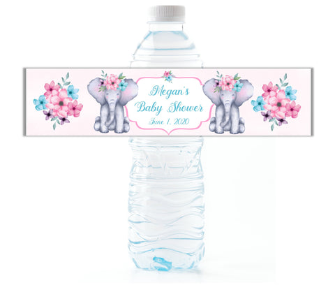 Elephant Water Bottle Labels-Water Bottle Labels-Cathy's Creations - www.candywrappershop.com