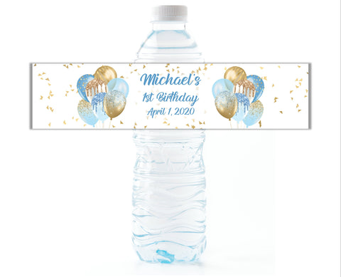 Blue and Gold Party Balloon Water Bottle Labels - Cathy's Creations - www.candywrappershop.com