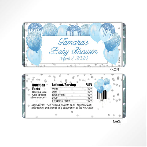 Blue Balloons Candy Bar Wrapper-Candy Bar Wrapper-Cathy's Creations - www.candywrappershop.com