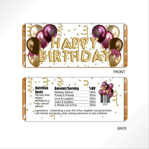 Burgundy and Gold Birthday Balloons Candy Bar Wrapper - Cathy's Creations - www.candywrappershop.com