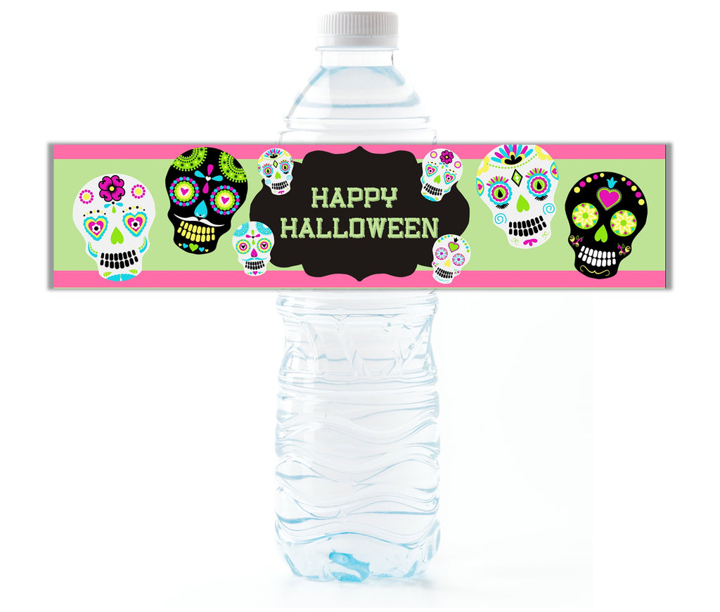 Sugar Skull Water Bottle Labels-Water Bottle Labels-Cathy's Creations - www.candywrappershop.com