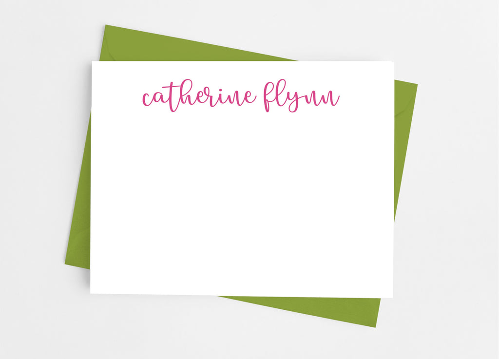 Personalized Stationery Flat Note Cards - Lowercase Script - Cathy's Creations - www.candywrappershop.com