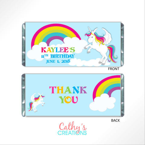 Rainbow Unicorn Candy Wrapper Candy Bar Wrapper- Cathy's Creations - www.candywrappershop.com