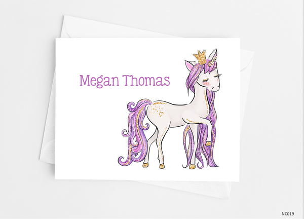 Purple Unicorn Note Cards - Cathy's Creations - www.candywrappershop.com