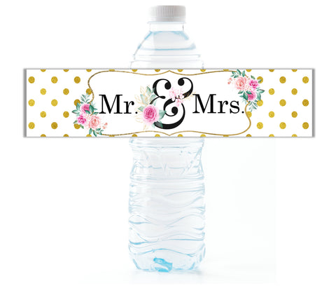 Mr. and Mrs. Wedding Water Bottle Labels - Cathy's Creations - www.candywrappershop.com