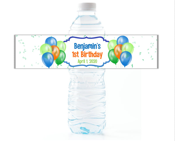 Balloon Party Water Bottle Labels - Cathy's Creations - www.candywrappershop.com