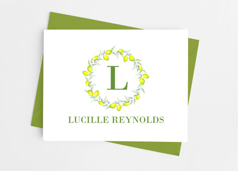 Lemon Single Initial Monogram Note Cards-Note Cards-Cathy's Creations - www.candywrappershop.com