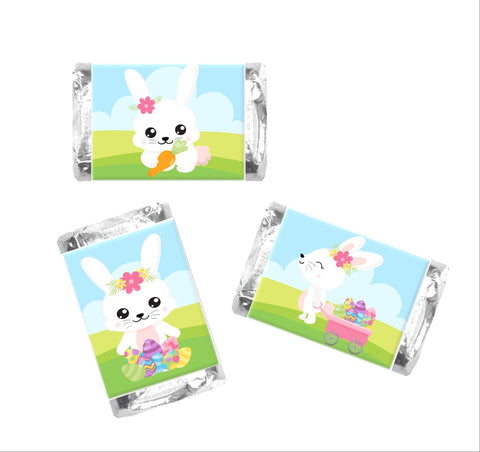 Cute Easter Bunny Mini Candy Bar Wrappers - Cathy's Creations - www.candywrappershop.com