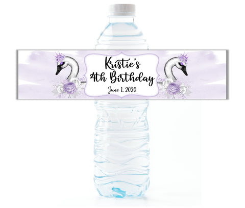 Swan Princess Water Bottle Labels - Cathy's Creations - www.candywrappershop.com