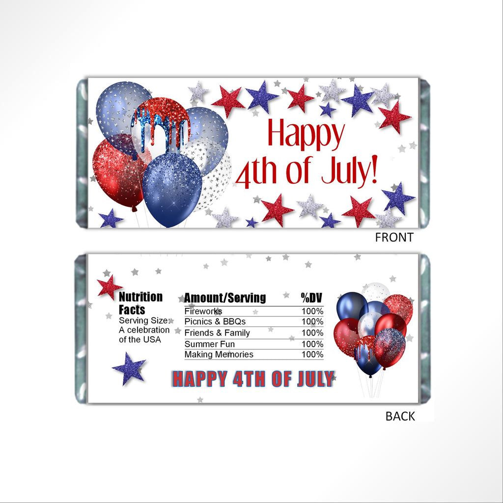 4th of July Balloons Candy Bar Wrapper - Cathy's Creations - www.candywrappershop.com
