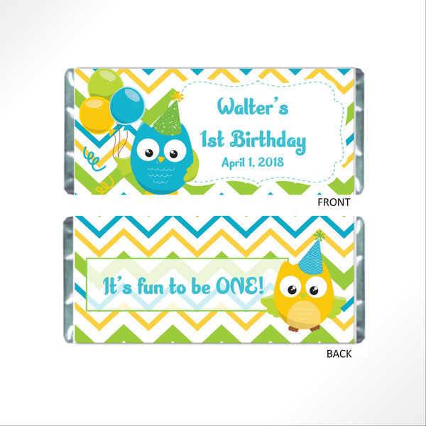 Owl Birthday Party Candy Bar Wrapper - Cathy's Creations - www.candywrappershop.com