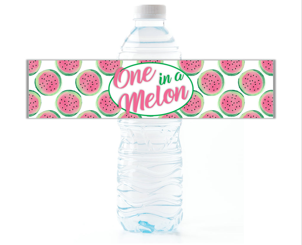 One in a Melon Water Bottle Labels-Water Bottle Labels-Cathy's Creations - www.candywrappershop.com