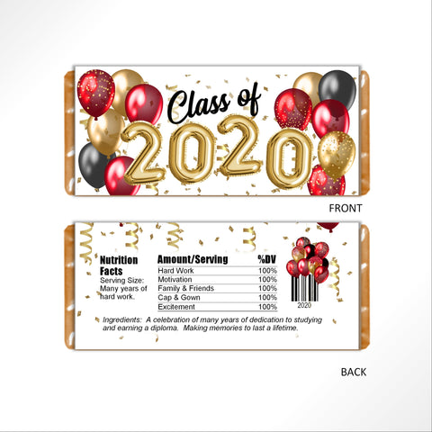 Red and Gold Graduation Balloons Candy Bar Wrapper - Cathy's Creations - www.candywrappershop.com