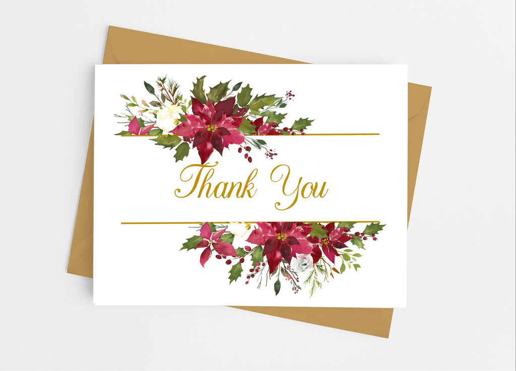 Poinsettia Christmas Floral Thank You Cards - Cathy's Creations - www.candywrappershop.com