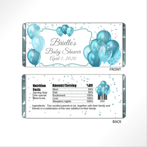 Aqua Balloons Candy Bar Wrapper-Candy Bar Wrapper-Cathy's Creations - www.candywrappershop.com