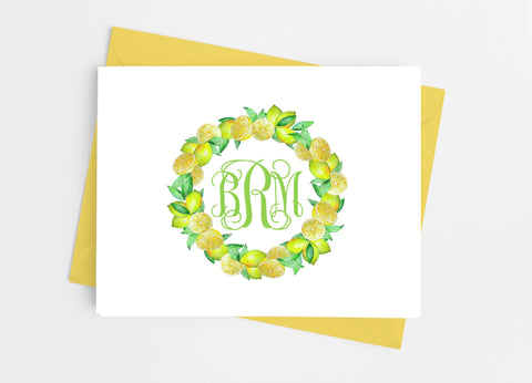 Lemon Wreath Monogram Note Cards-Note Cards-Cathy's Creations - www.candywrappershop.com