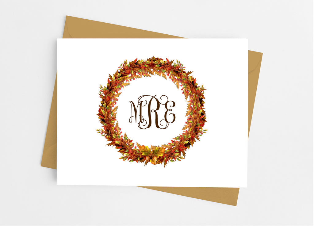 Fall Leaves Monogram Note Cards - Cathy's Creations - www.candywrappershop.com