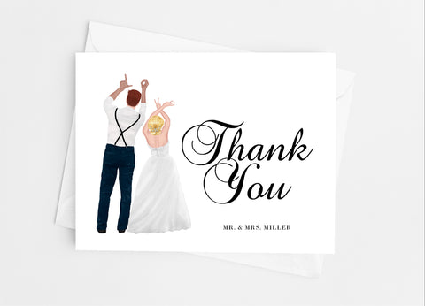 Wedding Couple Portrait Thank You Cards-Note Cards-Cathy's Creations - www.candywrappershop.com