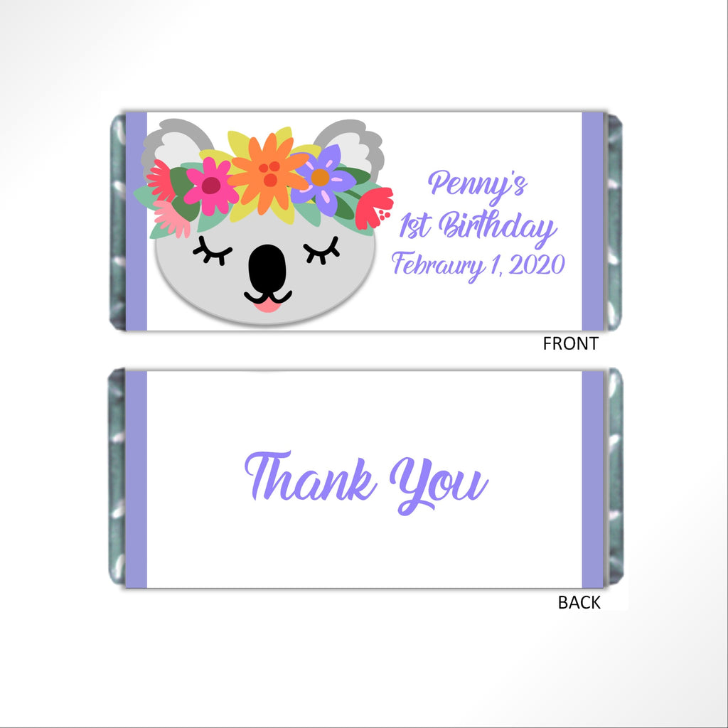 Koala Party Candy Bar Wrapper - Cathy's Creations - www.candywrappershop.com