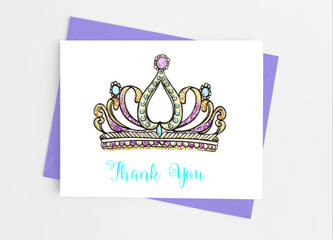 Princess Tiara Thank You Cards-Note Cards-Cathy's Creations - www.candywrappershop.com