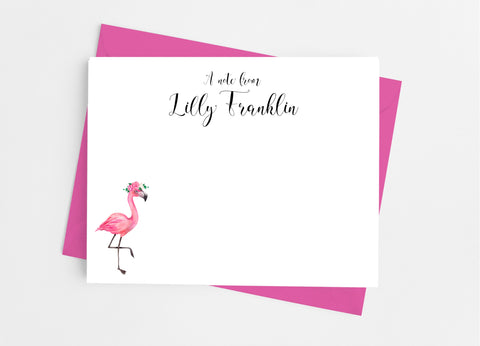 Floral Flamingo Flat Note Cards-Flat Stationery Cards-Cathy's Creations - www.candywrappershop.com