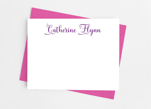 Personalized Stationery Flat Note Cards - Classic Flourish - Cathy's Creations - www.candywrappershop.com