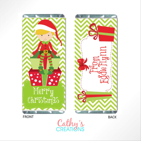 Christmas Elves Candy Bar Wrapper Candy Bar Wrapper- Cathy's Creations - www.candywrappershop.com