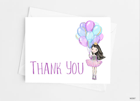 Birthday Princess Thank You Cards-Note Cards-Cathy's Creations - www.candywrappershop.com