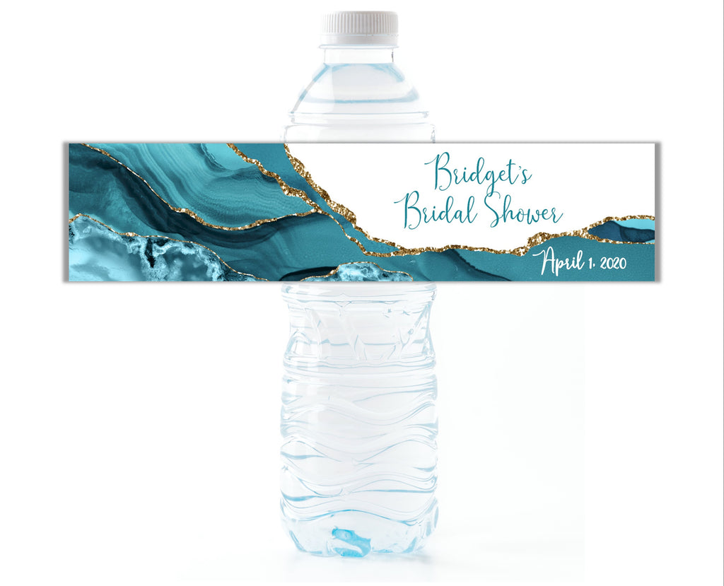 Teal Agate Water Bottle Labels - Cathy's Creations - www.candywrappershop.com