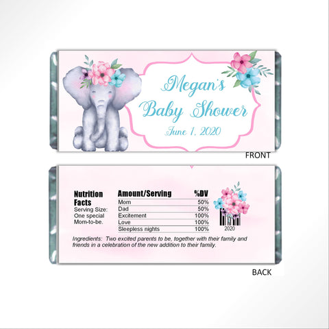Floral Elephant Candy Bar Wrapper-Candy Bar Wrapper-Cathy's Creations - www.candywrappershop.com