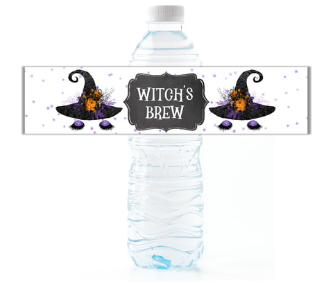 Witch Face Water Bottle Labels - Cathy's Creations - www.candywrappershop.com