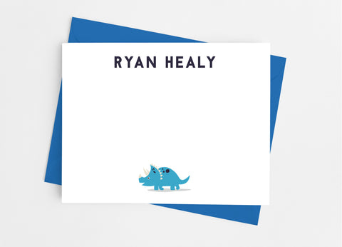 Dinosaur Personalized Flat Note Cards-Flat Stationery Cards-Cathy's Creations - www.candywrappershop.com